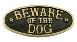 Cast Brass Beware Of The Dog Large 200mm x 100mm in Black or Green